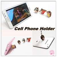 Wholesale Cute Mobile Phone Plug - Cute cartoon character cell phone holder suction-cup mobile phone dustproof plug and mobile phone holder for mobile phone-111