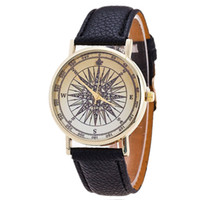 Wholesale Ladies Students Watch - 2016 New Arrival Geneva Leather Strap Watches Compass Watch Women Ladies Wristwatch Fashion Quartz Watch Present Party Gift Student Watch