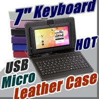 Wholesale interface tablet pc - DHL Leather Case with Micro USB Interface Keyboard for 7 inch MID Tablet PC A-JP