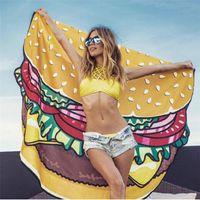 Wholesale Thin White Scarf - Round Beach Towel Pizza Hamburger Printed Thin Chiffon 150cm Beach Round Towels Scarf Toalla Playa Serviette De Plage Ronde