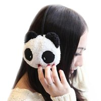 Wholesale Novelty Ear Muffs - Wholesale-Lovely Novelty Earmuffs Panda Style Women Warm Ear Animal Rabbit Protective Gril Plush Winter Keep Warmer Earmuff Pure Cotton