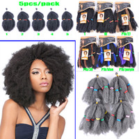 Wholesale Synthetic Afro Kinky Bulk - Afro Kinky Bulk Beauty Collection Synthetic Hair Extensions 4roots pcs 5pcs pack Curly For Women