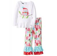 Wholesale Wholesale Cartoon Tshirts - 2016 Christmas Girls Childrens Clothing Sets Cartoon Santa Claus Xmas tshirts Pants Set Cotton Spring Autumn Girl Kids Clothes Suits