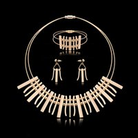Wholesale Mixed Geometric Necklace - Earrings Necklace Bracelet Jewelry Set High Grade Luxury Women 18K Gold Plated Geometric Metal Strap Wedding Jewelry 3-Piece Set JS290