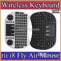 Wholesale 10X Wireless Keyboard rii i8 keyboards Fly Air Mouse Multi Media Remote Control Touchpad Handheld for TV BOX Android Mini PC JP