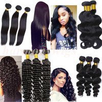 Wholesale Unprocessed European Hair Extensions - Virgin Brazilian hair bundles human hair weave body wave wefts 8-34inch Unprocessed Peruvian Malaysian Indian dyeable hair Extensions
