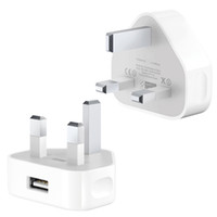 Travel Wall Charger Adapter UK Plug 3 broches Sortie Rea 5V 1A Original OEM Qualité pour iPhone 4S 5 5S 6 6s 7 7 Plus Blanc