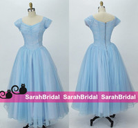 Wholesale Tea Balls For Sale - 1950s Party Dresses for 2016 Special Occasion Formal Summer Event Wear Sale Cheap Dusty Pale Blue Ballerina Tea Length Prom Evening Gowns