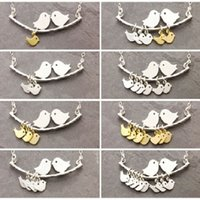 Wholesale Bird Branches Necklace - Wholesale-1-8 Kinds love birds necklace Simple Fashion tree branches and bird pendant necklace mothers jewelry Hot selling