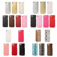 sert plastik yılanlar toptan satış-Yılan Ölçek Dokuma Deri Sert Kapak Iphone 8 Artı 7/7 Artı / 6 6 S / Artı Croco Plastik PC Kasa Timsah Dikey Kaplama Yapıştırma Geri Cilt