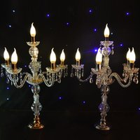 Wholesale Wholesale Crystal Tall Candle Holders - 55CM to 150cm Tall Upscal Table Centerpiece Acrylic Crystal Wedding Candelabras Candle Holder Wedding Aisle Road Leads Props