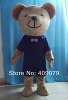 Wholesale Mascot Blue Shirt - Wholesale-adult teddy bear mascot costume in blue shirt