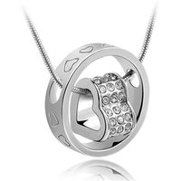 Wholesale Jewelry 18krgp - Korean Fashion Charm Bridal Jewelry 18KRGP Women Austria Crystal Pendant Necklace Female Korea Trendy Jewelry 1686