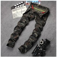 Wholesale Military Fit - New Mens Camouflage Jeans Motocycle Camo Military Slim Fit Famous Designer Biker Jeans With Zippers Men