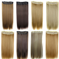 Wholesale Ponytail Synthetic - Clip in hair extension Ponytails synthetic Straight hair pieces 5clips 60CM 120g clip on hair extenions more colors