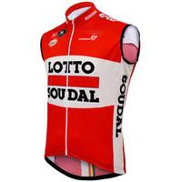 camisas de ciclismo lotto venda por atacado-WINDSTOPPER WINDPROOF 2015 LOTTO SOUDAL PRO EQUIPE VERMELHO SLEEVELESS VEST CICLISMO JERSEY CICLISMO DESGASTE TAMANHO: XS-4XL