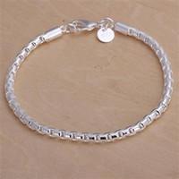 Wholesale Silver Box Chain Bracelet - Daily Deals! Fashion 4MM 925 Silver Box Chain Bracelets Jewelry Lovely Simple Chain Silver Bracelet Jewelry for women men Free Shipping H214