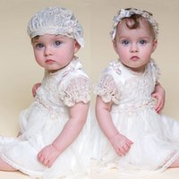 2016 Lovely Baby Girls Taufe Kleid Daby Boby Taufkleider Kurzarm knielangen Baby Party Show Kleid Custom Made Günstige