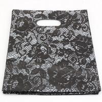 sacs cadeau dentelle achat en gros de-Vente chaude ! Pochettes à bijoux .200pcs 20x25cm noir dentelle sacs en plastique bijoux cadeau sac.