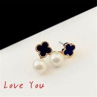 Wholesale Korean Black Pearl Earrings - Korean Fashion Pearl Earrings Black Acrylic Clover Flower Stud Earrings Elegant Women Party Jewelry Costume Bijoux Femme