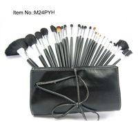 Wholesale makeup brush set leather pouch resale online - New Makeup Brush LEATHER Pouch Makeup Pieces Brush Sets pc