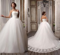 Wholesale Elegant Strapless Wedding Dress Hot - Hot Sell Elegant Popular Ribbons Strapless White Embroidery Tulle Ball Gown Wedding Dresses Court Train Lace-up Bridal Gown 2014