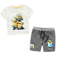 Wholesale Despicable Clothing - Fashion cartoon Summer Children's Clothing Sets baby boy sports suit sets Despicable Me Minions cotton T-shirt+casual shorts