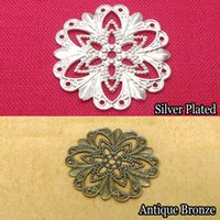 Wholesale Antique Filigree Charm Findings - 100pcs 21mm Filigree Flower Flat Motif Spacer Charms Blank Finding for DIY Jewelry Making Antique Bronze Silver Plated