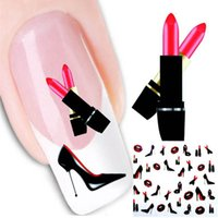 Wholesale Decal Transfer Paper - Red Lips Design French Manicure Water Transfer Nail Art Sticker Decal DIY Fingernail Tips Nail Tattoo Stickers Paper Tool