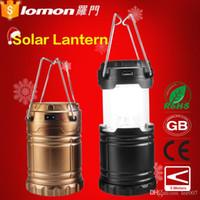 Wholesale Solar Lantern Phone Charger - Lomon Plastic Camping Lantern,6 Led Rechargeable Lantern,Usb Solar Lantern With Mobile Phone Charger 2800mah phone pwerbank