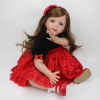 Wholesale Lifelike Dolls China - Realistic Baby Doll Sweet Princess Doll 24 inch Lifelike Girls Christmas Gift Doll Cute Soft Reborn Bebe Toddler Collection Dolls