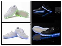 Wholesale Colorful Sneakers For Women - Led Shoes 2016 Light Up Shoes Colorful Casual Sneakers for Men Women Running Shoes New Arrival Brand Ladies Walking Shoes Black White
