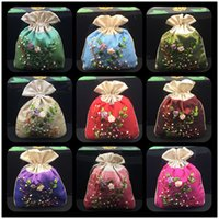Wholesale China Craft Supplies Wholesale - Ribbon Embroidery Patchwork Small Cloth Bags for Christmas Candy Gift Bag Drawstring Satin China Ethnic Craft Decorative Packaging Pouch