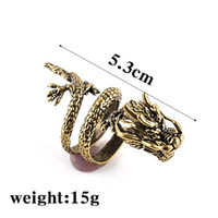 Wholesale Huge Vintage Jewelry - Plated copper vintage alloy punk Threatening gestures Claw ring exaggeration ring big huge Chinese Dragon rings men jewelry 2017 j194