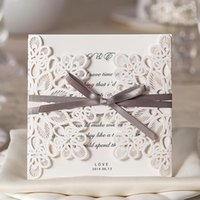 Wholesale Beige Wedding Invitations - 2017 Wholesale Laser Cut Wedding Invitations Elegant Wedding Invitations Ribbon Invitation Cards With Free Shipping