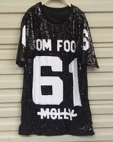 Wholesale Sequin Tops Ladies - Wholesale-2016 Free Ship Fashion Brand Sequin Letter 61 Printed Loose Women Tops Sequins T-shirt Casual Ladies Casual Sequin Clothing