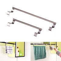 Wholesale Rail Drawer - Wholesale- 1Pc Stainless Steel Over Door Hook Towel Bar Rack Holder Kitchen Hanging Storage Rail Drawer Cupboard Cabinet Cloth Hanger