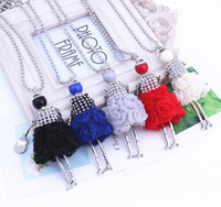 Wholesale Crystal Doll Necklace - European Cute Long Chain Sweater Dress Dolls Necklace Statement Necklace Doll Pendant with Crystals for Girls