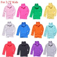 Wholesale Different Shirt - Spring autumn kids polo shirts long sleeve baby girls pure color shirt 13 different color boys Famous Brand Polo Casual Cotton Top tees
