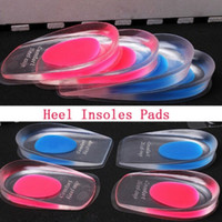 Wholesale Buttons Cushion - 200pc=100pair Height Silicone Heel Cup Gel Insoles anti-Shock Absorb shoes Cushion Pink Blue Color foot care H012