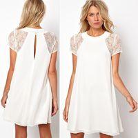 Wholesale Casual Womens Chiffon Blouse - 2016 Fashion Womens Lace Dress Summer Chiffon Casual Dresses For Women Ladies Loose Swing Tops Blouse Clothing