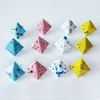 Wholesale Metal Claw Shoes - 50pcs freeshipping 10mm Flower color pyramid metal studs 4 claw clorized square nail rivets for leather craft & clothing & shoes