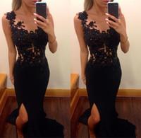 siyah elbiseli süslü elbise toptan satış-2017 Gelinlik Modelleri Uzun Siyah Mermaid Sheer Aplikler Bacak Yarık Dantel Bayanlar Için Özel Günlerinde Önlük Seksi Korse Şifon Fantezi Elbise