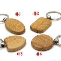 Wholesale Decorations Crystal Car - Free DHL Home Decoration Blank Personalized Wood Keychains DIY OEM Laser Logo Wooden Key Chain Oval Round Square Heart Shape E721E