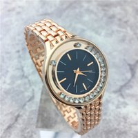 Wholesale Sexy Diamond Dresses - Luxury Women watches Popular Top Brand Lady Wristwatch Stainless steel Rolling Diamonds Women Quartz Rose Crystal Hot sale Dress watch Sexy