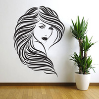 Adesivi murali vinile rimovibili Home Decor Capelli Salone di bellezza Barbershop Adesivi murali ragazza sexy Donna Face 3D Home Decor D152