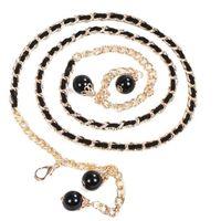 Wholesale pearls waist belts - Wholesale- New Women's Lady Fashion Metal Chain Imitation Pearl Style Belt Body Chain Waistband Pretty Fashion Waist Belts