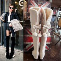 Wholesale Over Knee Suede Beige - Winter Stretch Faux Suede Over the Knee boots Women's Round Toes Heel lifed Snow boots Female Cute Bowties belt Flat Heel Boots