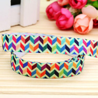 """Wholesale Chevron Items - 5 8"""" 16mm Chevron Colorful Geometry Fold Over Elastic-FOE Printed Ribbon for Baby Craft Party DIY Hair Items 50 100Yds A2-F-882"""