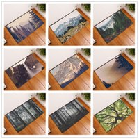 Wholesale Hand Landscapes Forest - New 10 Styles HD Tree Forest Beautiful Scenery Landscape Carpets Anti-Slip Floor Mat Outdoor Rugs Front Door Mats 40x60cm 50x80cm